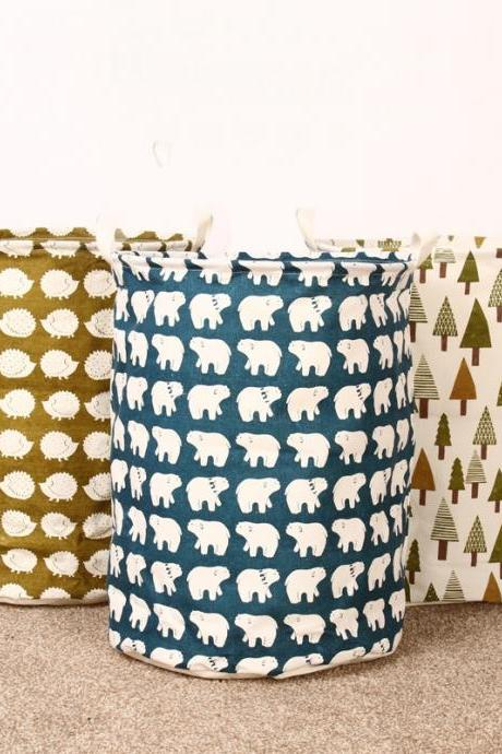 Foldable Eco- Friendly Jute Storage Polar Bear Print